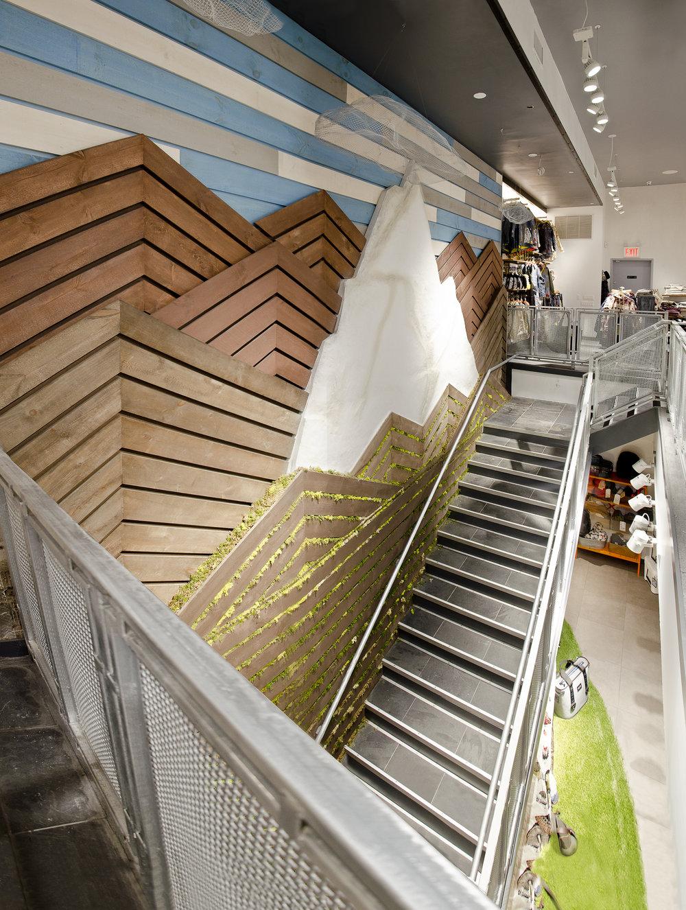 Burton Snowboards II. Tobin Parnes Design. NY. Retail Design. Stair.