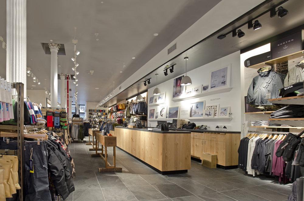 Burton Snowboards II. Tobin Parnes Design. NY. Retail Design. Sales Area.