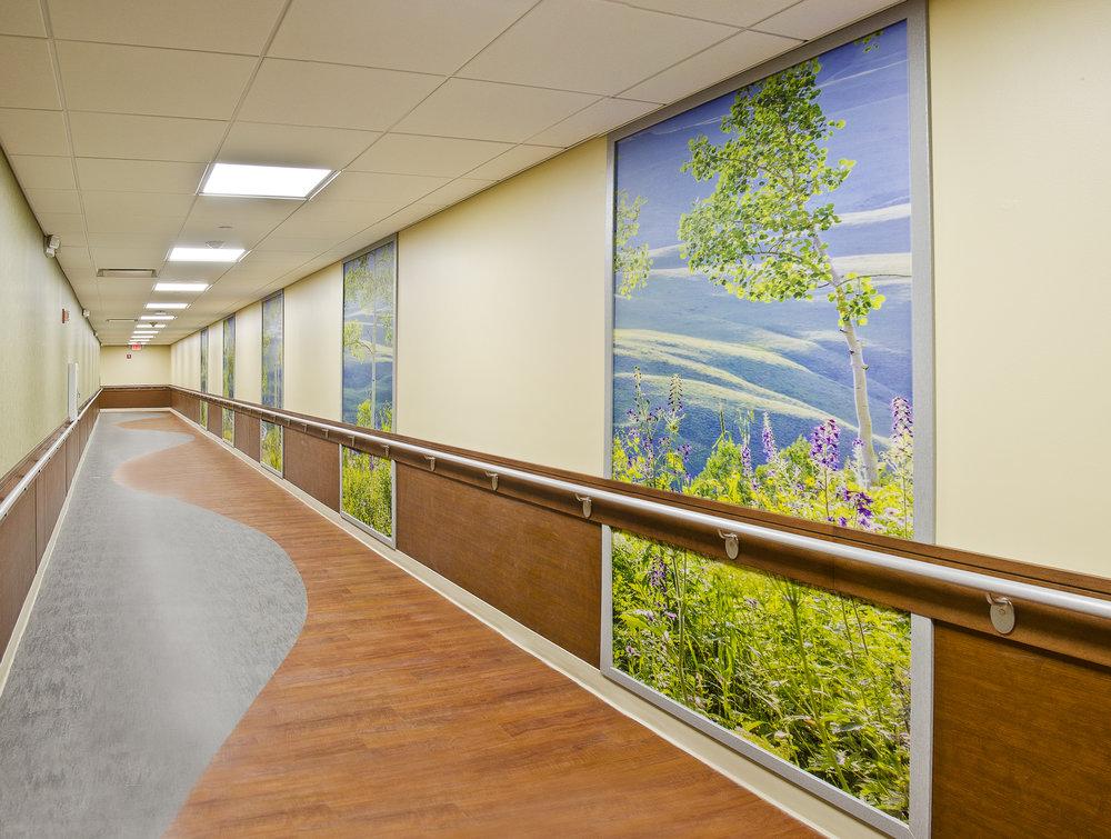 The New Jewish Home. Tobin Parnes Design. NY. Healthcare Design. Corridor.