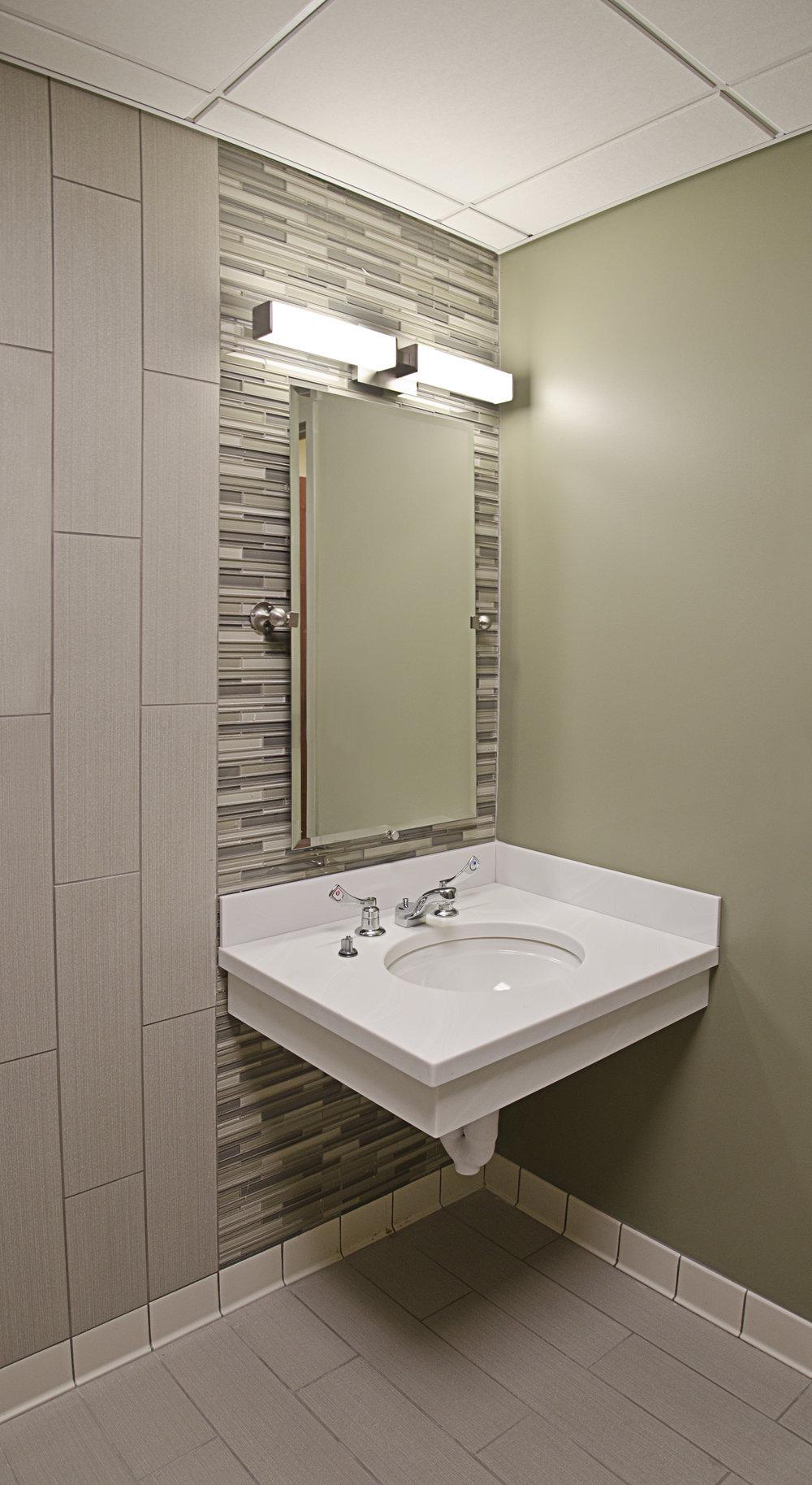The New Jewish Home. Tobin Parnes Design. NY. Healthcare Design. Bathroom. Sink Area.