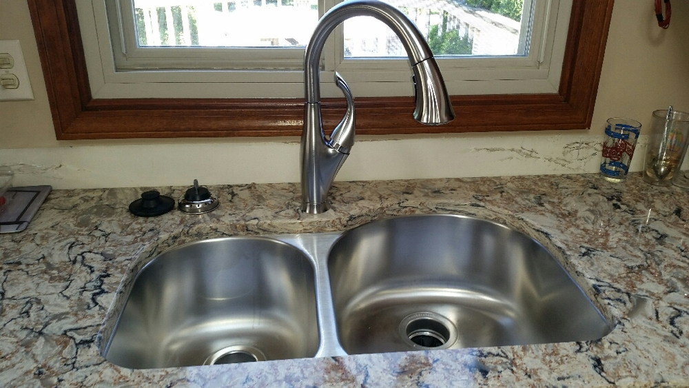 Beautiful Cambria countertop, sink and faucet.