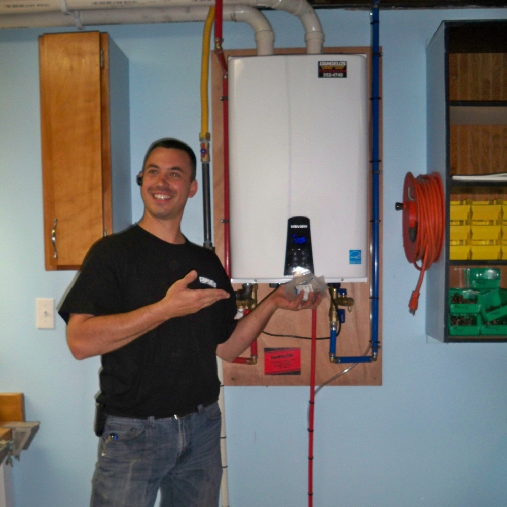 Gerry Blanchard with a newly-installed tankless by Navien