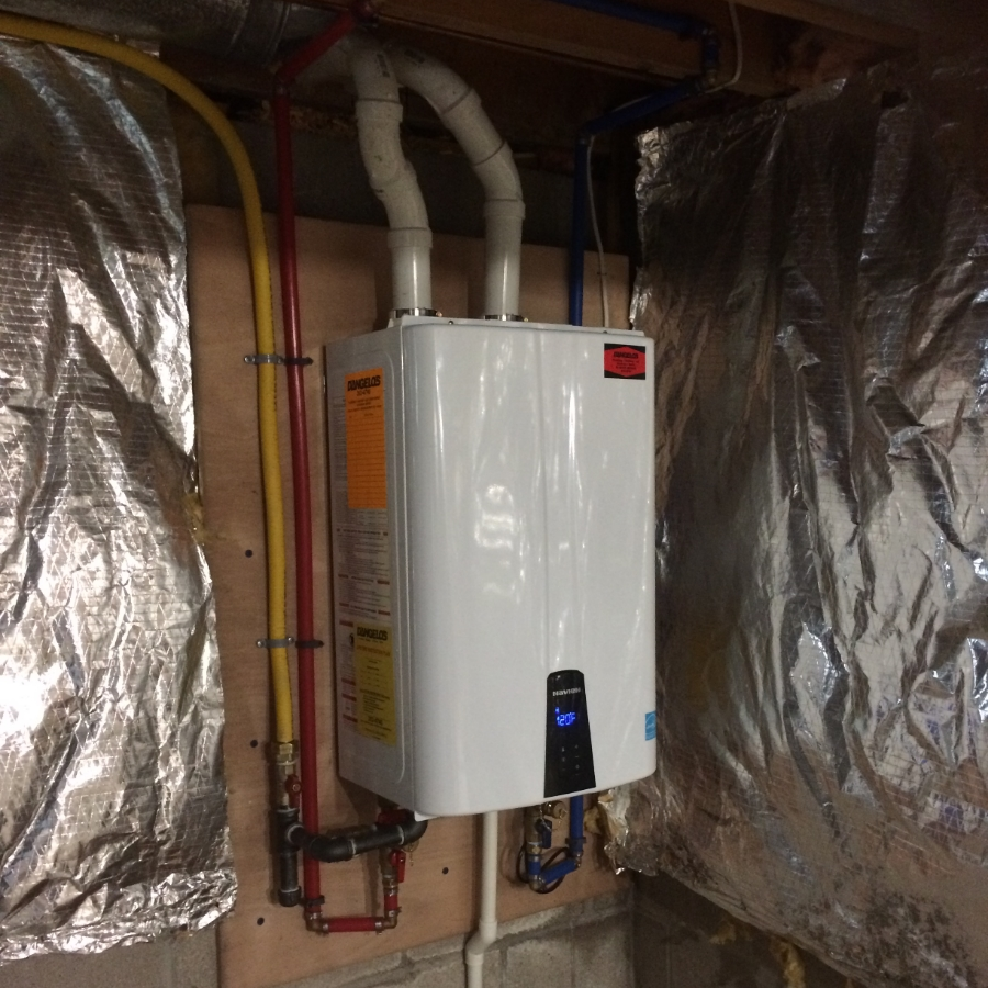 Navien NPE-240A tankless system.  Installed with pride by D'Angelo's Plumbing & Heating