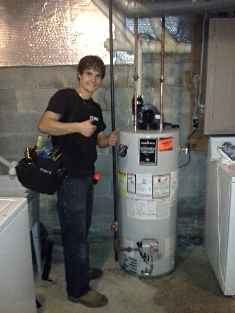 Nick's first water heater install - 2013