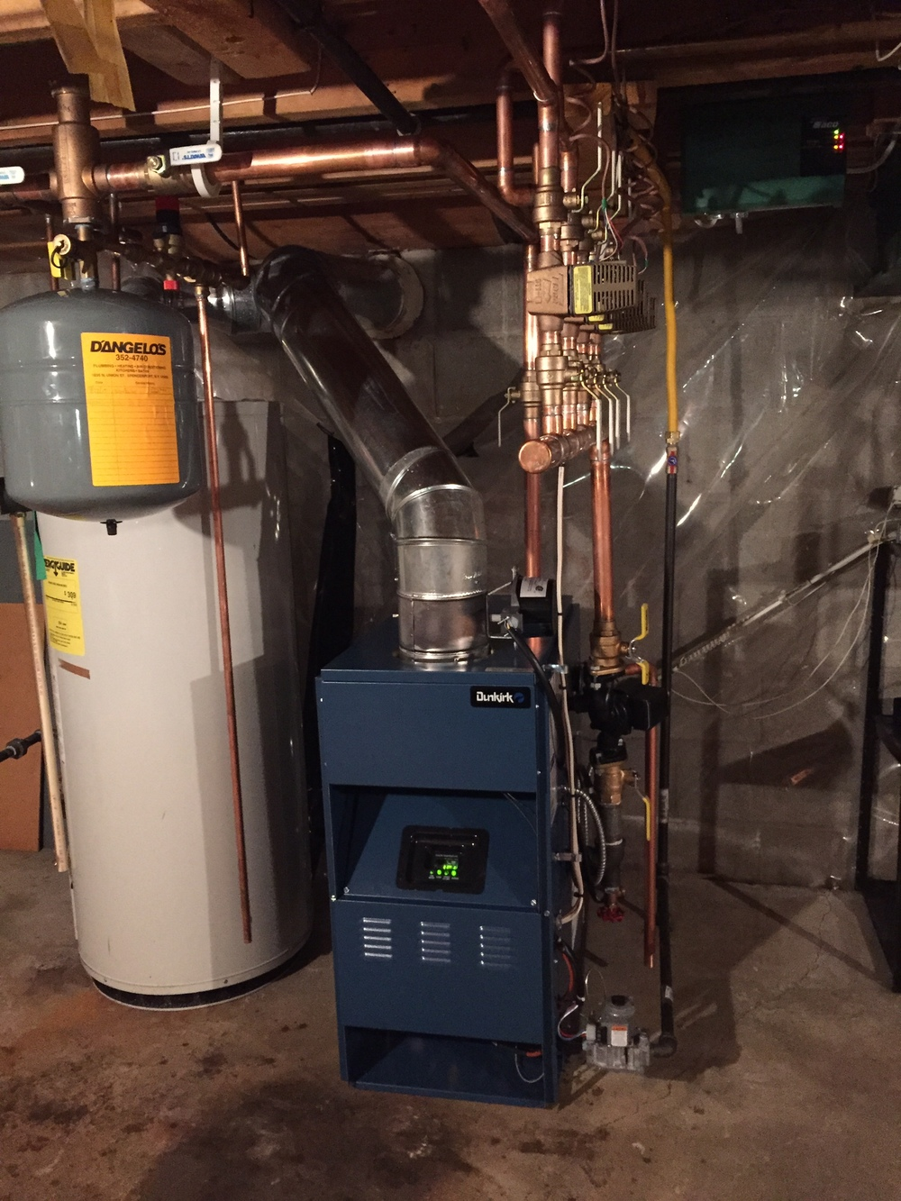 Dunkirk hot water boiler install in Rochester, NY