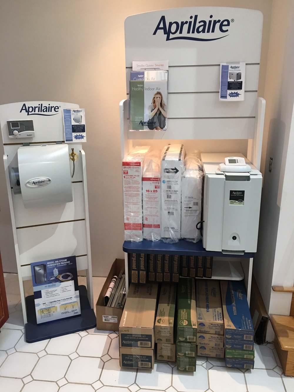 Aprilaire product display at D'Angelo's Plumbing & Heating