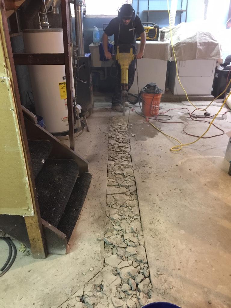 Floor break, drain repair