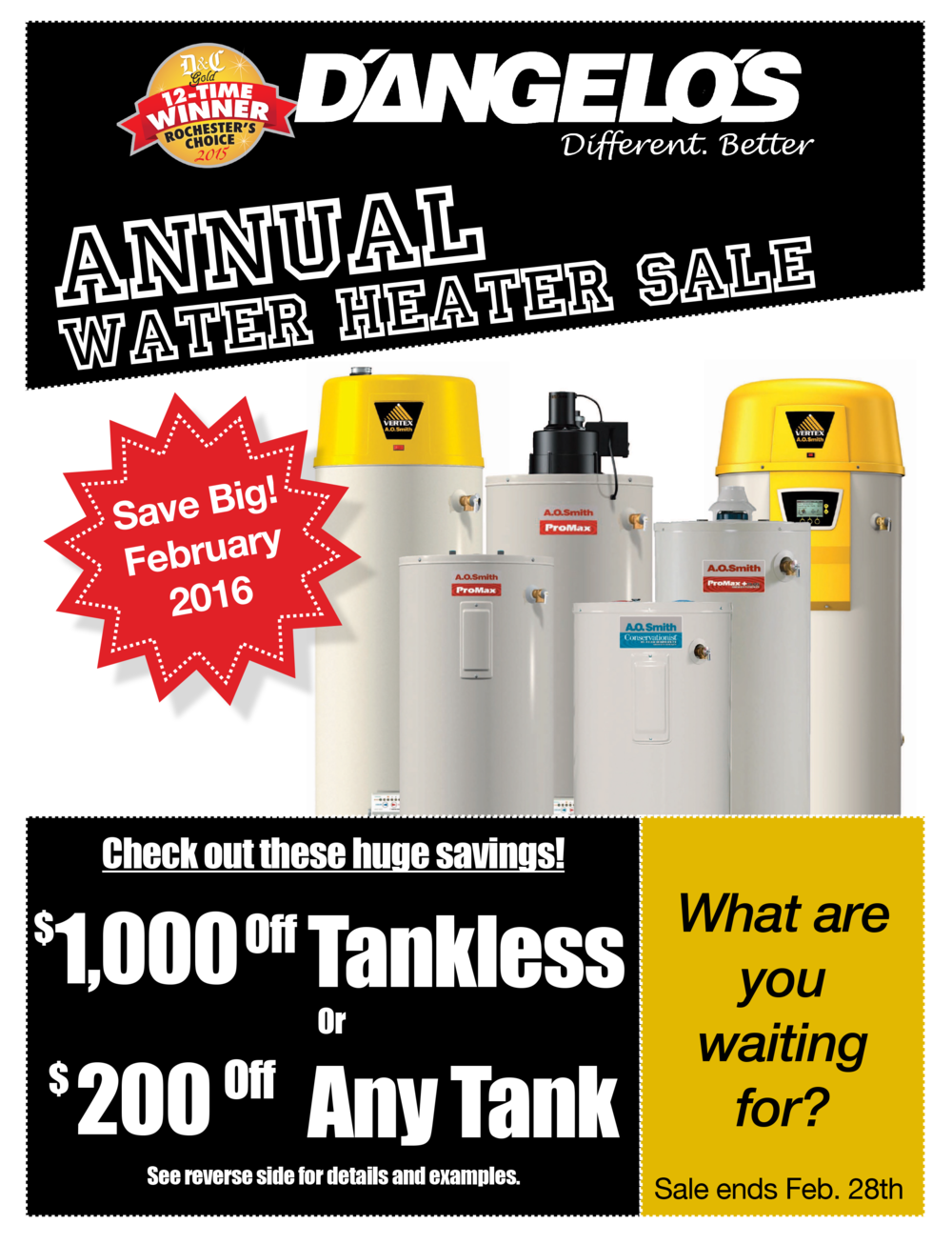 D'Angelo's water heater sale