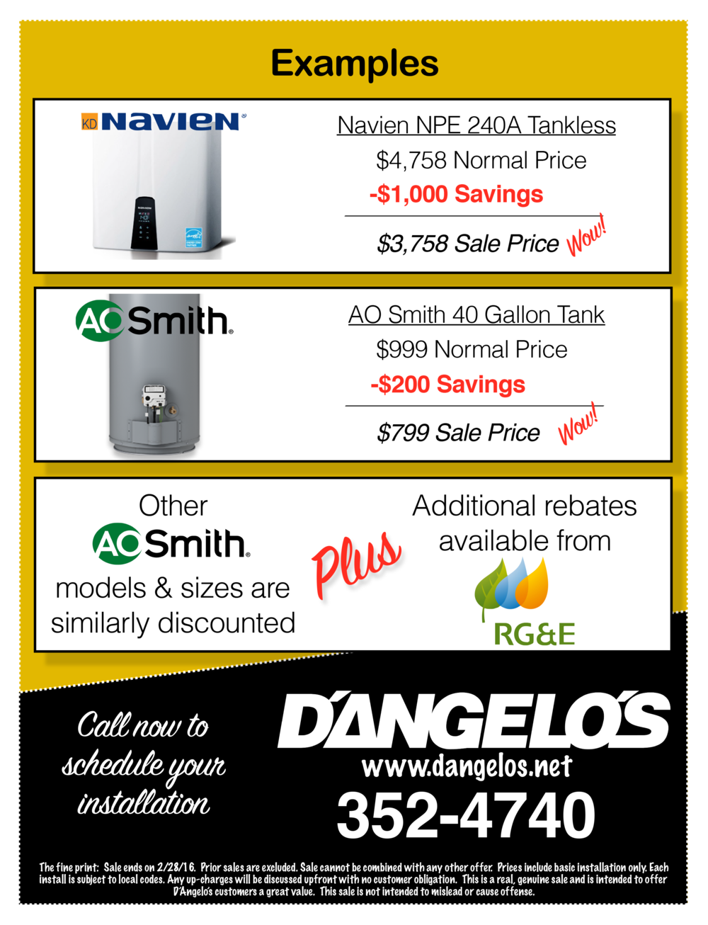 AO Smith and Navien Tankless water heaters