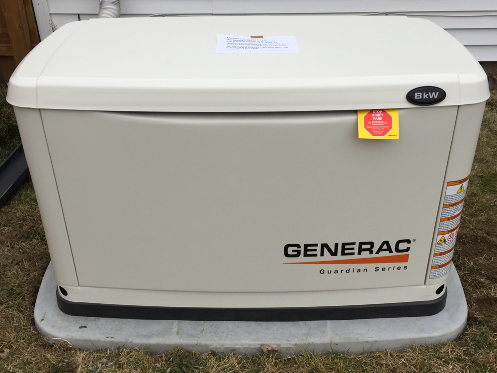 Generac 8 kW air cooled generator on heavy duty Generac Gen-Pad