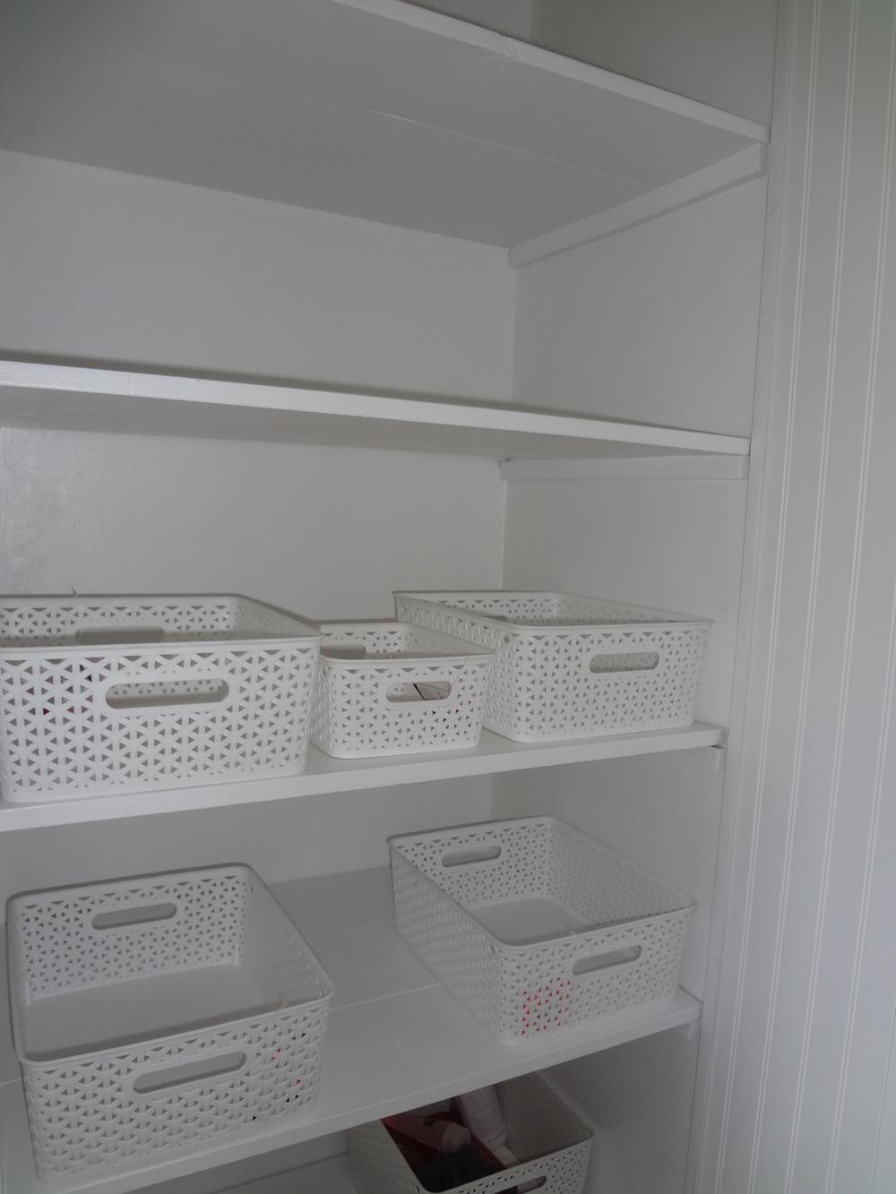 A new linen closet with shelves.