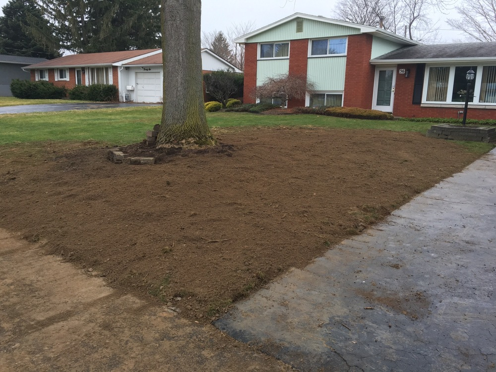 The final result.  The job site has been cleaned and raked.  All that needs to be done is to reseed for grass.