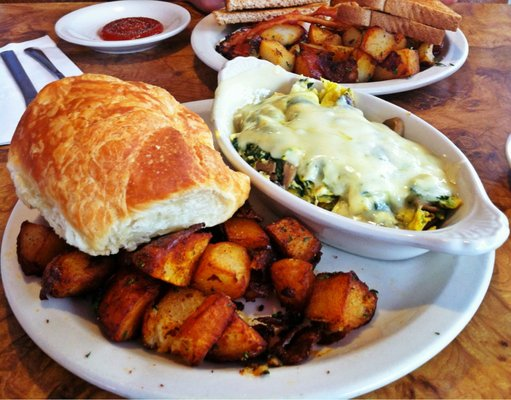 Spinach, mushroom and Swiss baked omelette, home fries, croissant, plum jam.jpg