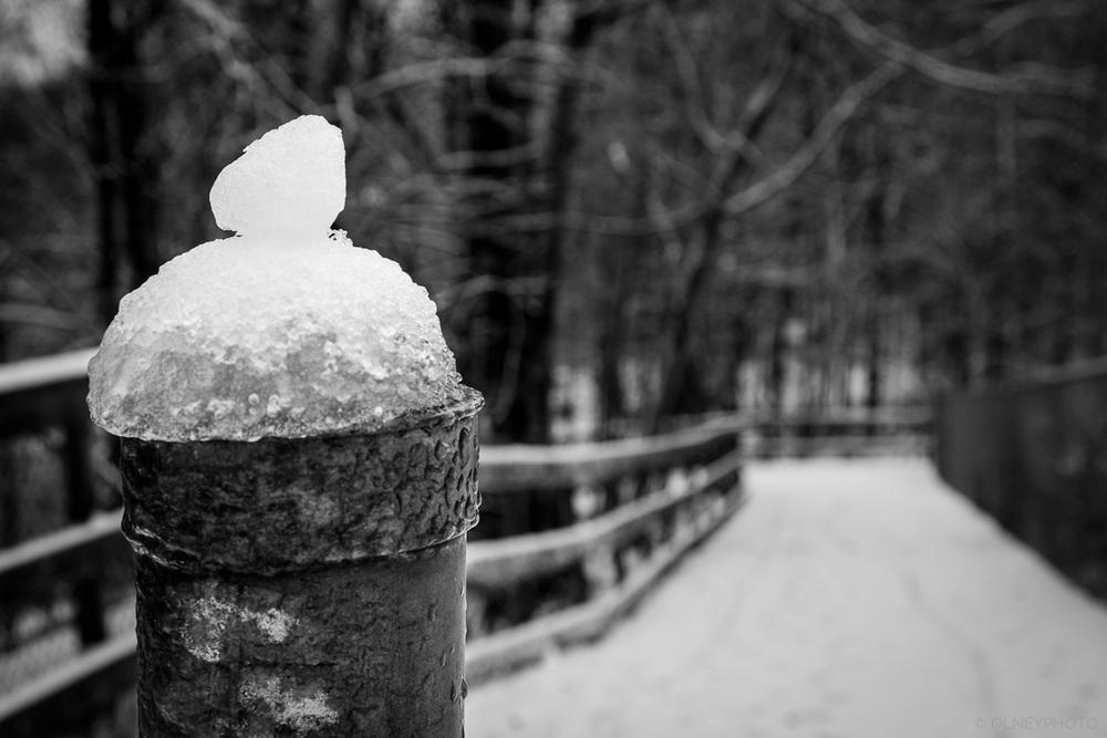 Tuque de glace sur un poteau de clôture ne noir et blanc OLNEY Photographe Sherbrooke