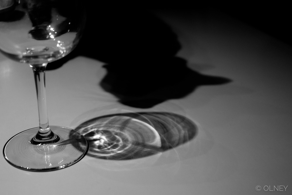 Cat shadow and wine glass in black and white olney photographe sherbrooke