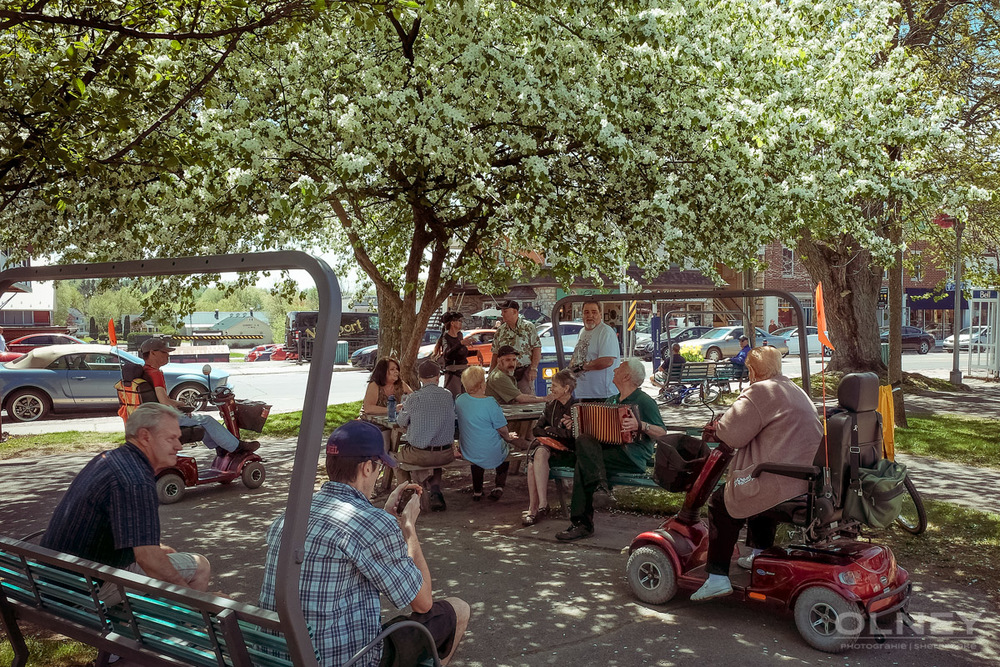 Gathering in central park Magog QC in colors street photography olney photographe sherbrooke