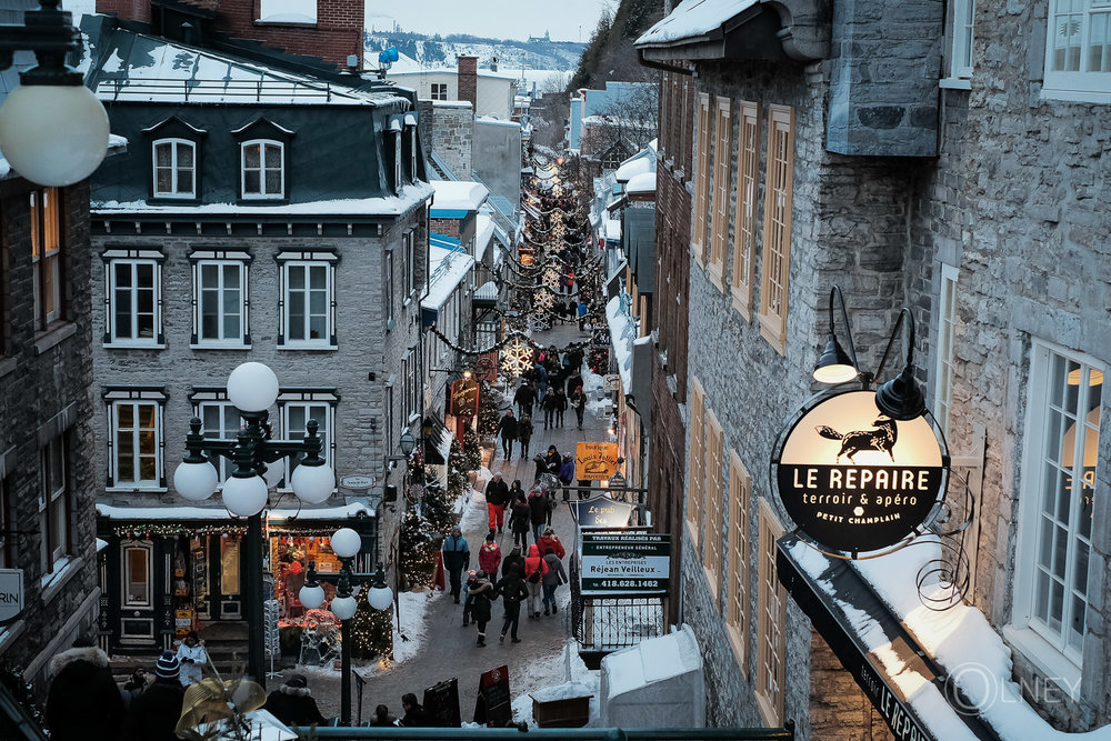 Petit Champlain street in quebec city historical district