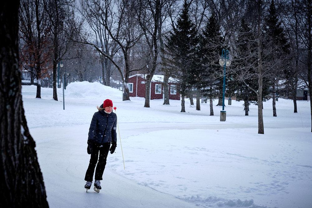 woman skating outside