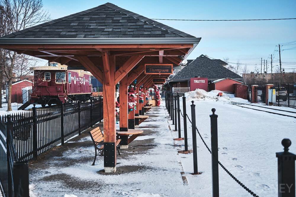 Mock train station in Sherbrooke Quebec