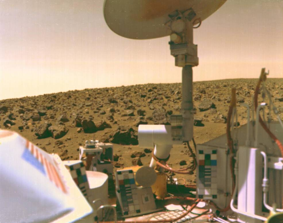 Your looking at the first Martian photograph taken from the Viking 1 lander, design and built at NASA LaRC