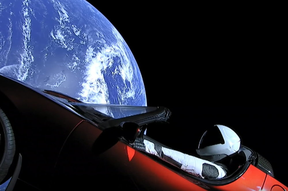 Starman sporting a Tesla Roadster shortly after launch