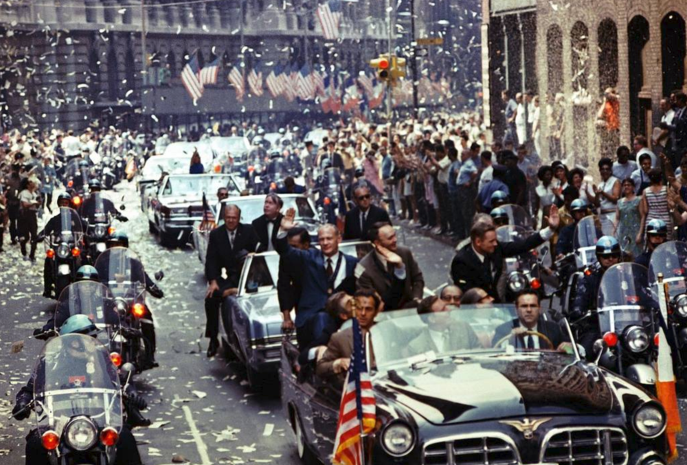 New York City welcomes Apollo 11 crewmen in a showering ticker tape parade. (Courtesy of NASA)