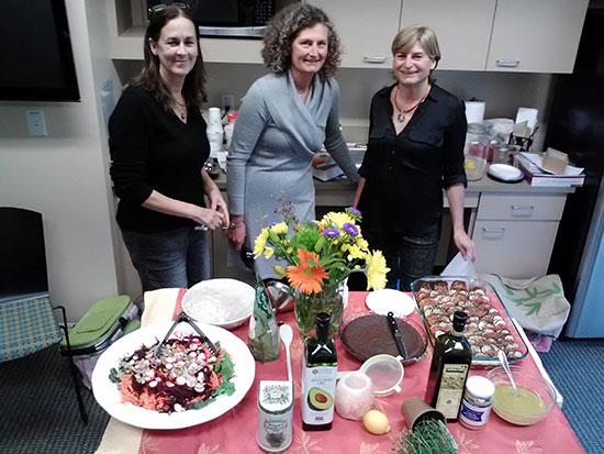 Nutritionists (Nancy, Stephanie and Florence) shared a healthy, delicious (and beautiful!) French meal adapted for cancer patients and prepared by Florence for our March 31st nutrition class.