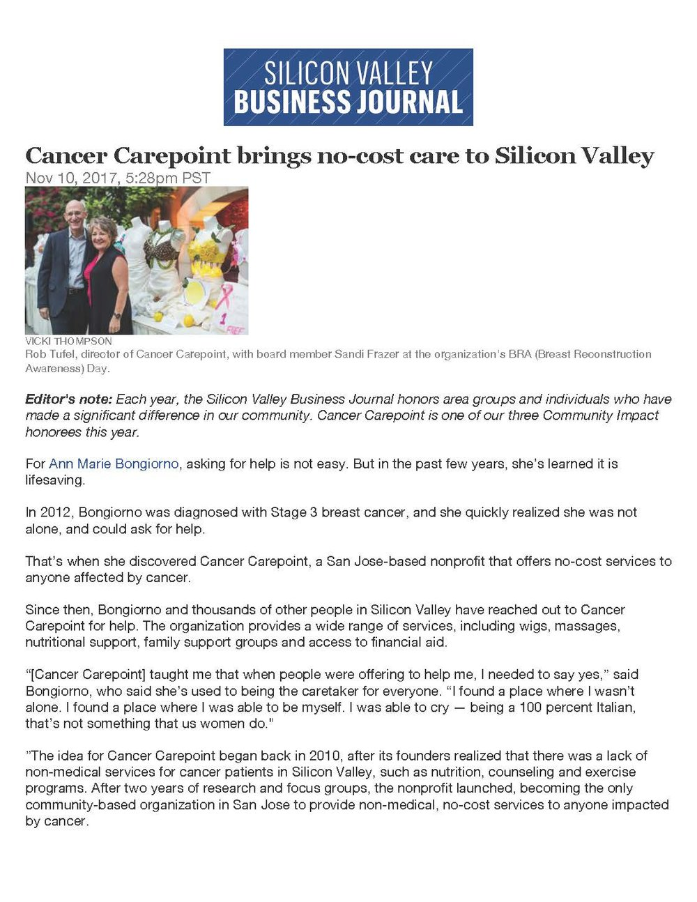 Community Impact Award Recipient! - Cancer CAREpoint was awarded the 2017 Community Impact Award by the Silicon Valley Business Journal!  Check out the article featured in their Giving Guide all about our work!