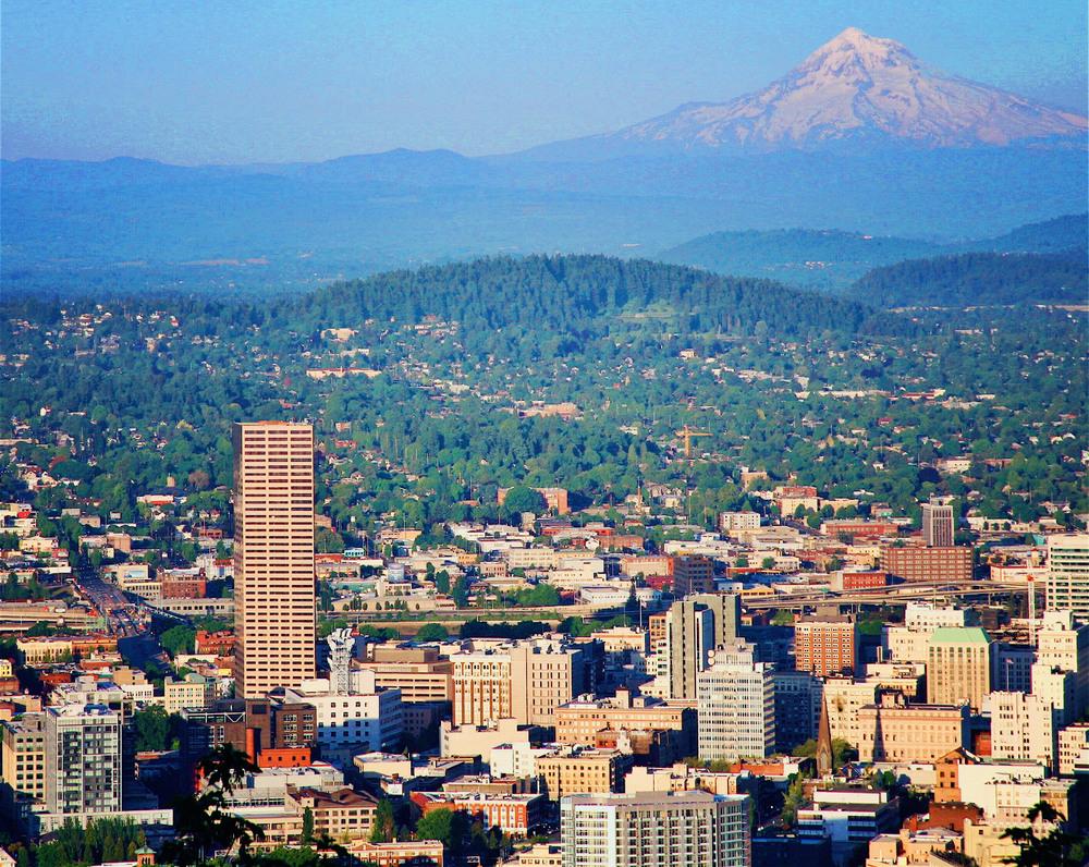 Looking east across Portland, with Mt. Hood looming.