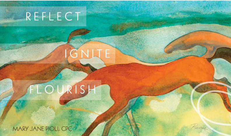 "Painting of horses with tagline, ""Reflect, Ignite, Flourish"" on Mary Jane Pioli's homepage."