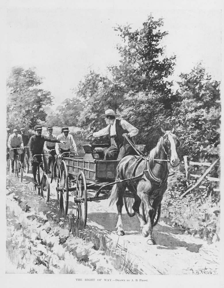 Users argue over the right of way on a narrow dirt road in this Harper's Weekly illustration by A. B. Frost, 1896. The cyclists may want to overtake on the left, as a vehicle would, or may be ordering the wagon out of their way; the farmer is having none of it. National Archives RG 30 (37–788).