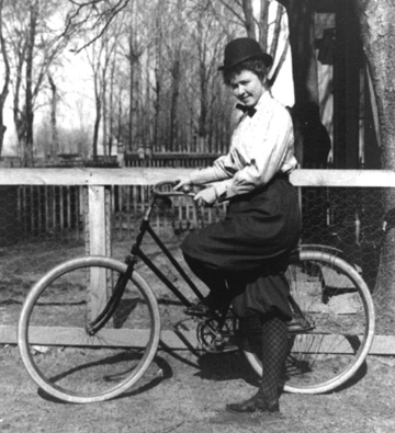 New Woman in cycling knickerbockers, c 1985 Courtesy of Victoriana Magazine