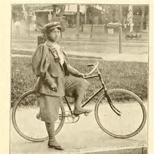Kittie Knox, with her bicycle and cycling costume, 1895  Courtesy of League of American Cyclists