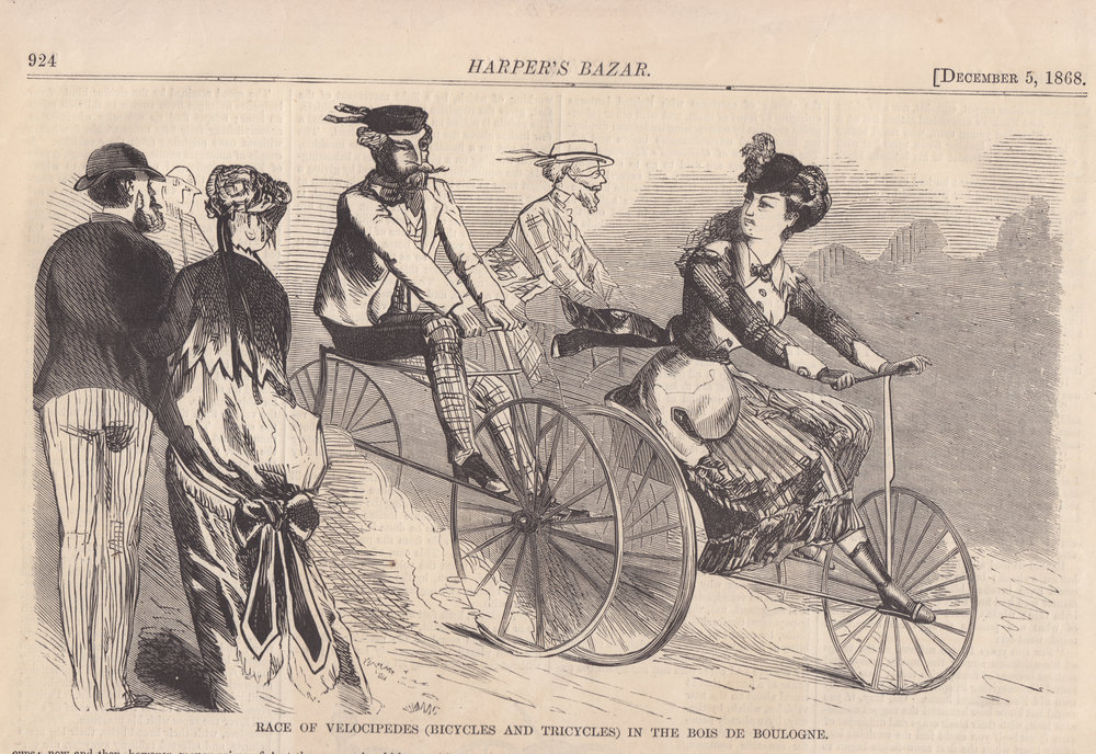 Image 1- Velocipede race in the Bois du Boulogne,  Harper's Bazaar,  December 5, 1868.