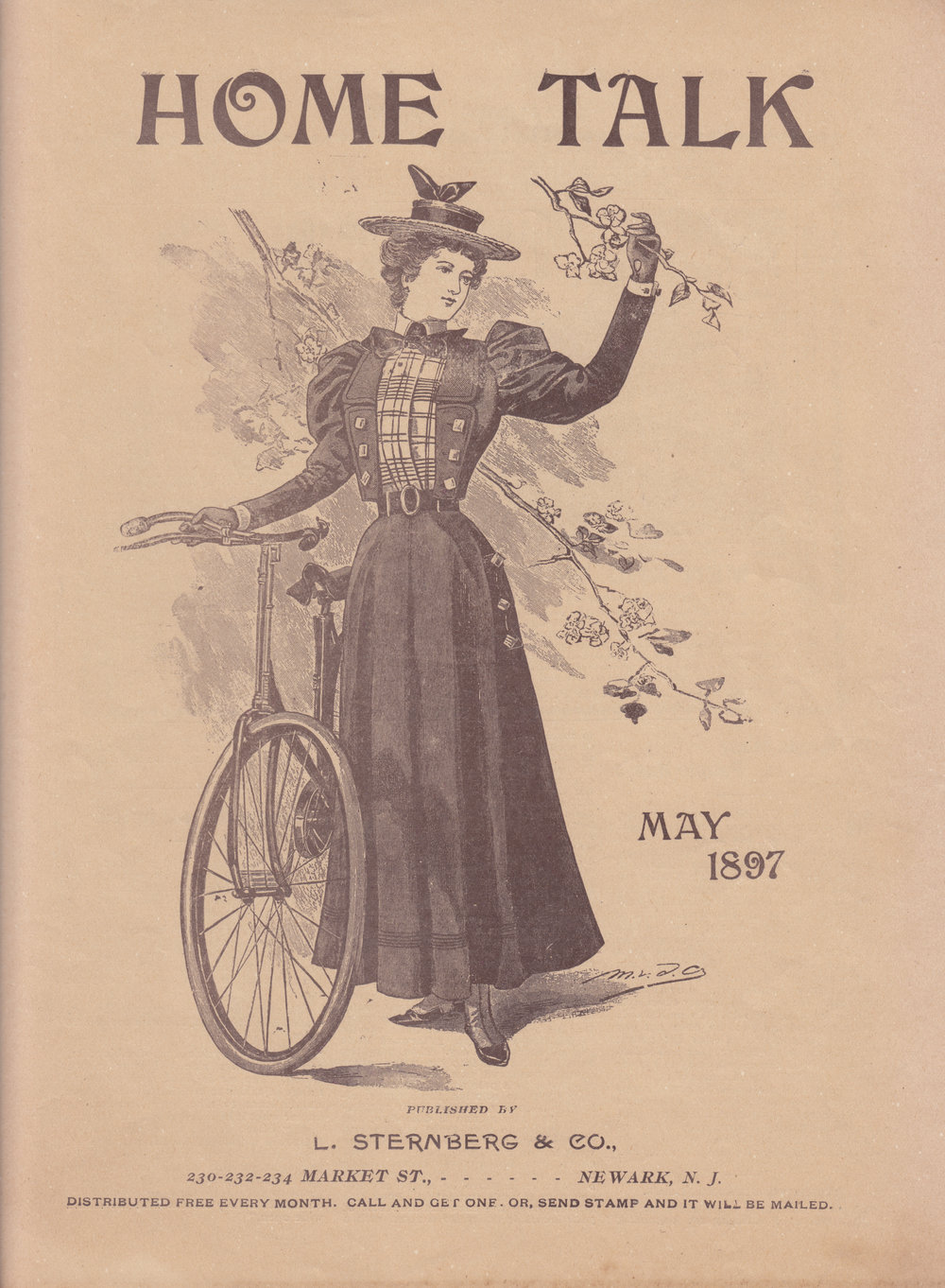 Illustration of fashionable woman and bicycle, May 1897.