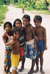 Children from NooToo Village on North Tarawa Island in the Republic of Kiribati.