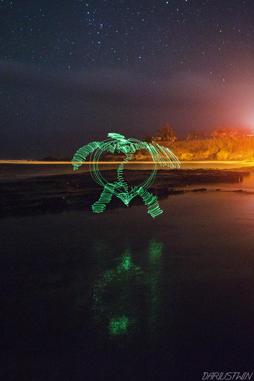 sea turtle, lightpainting, nightwriter, longexposure