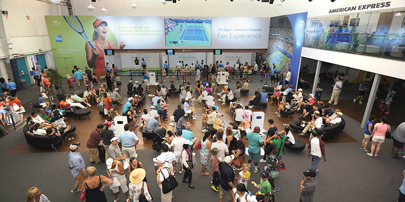 The two-story fan experience at the US Open offers lounge seating, social media engagements, open courts and a club for cardmembers that overlooks the action