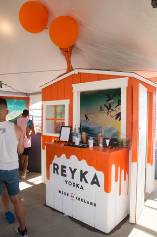 NYC Pride sponsor Reyka Vodka, an Icelandic vodka brand, offered guests a swing that served as a photo op and a spot for attendees to relax.