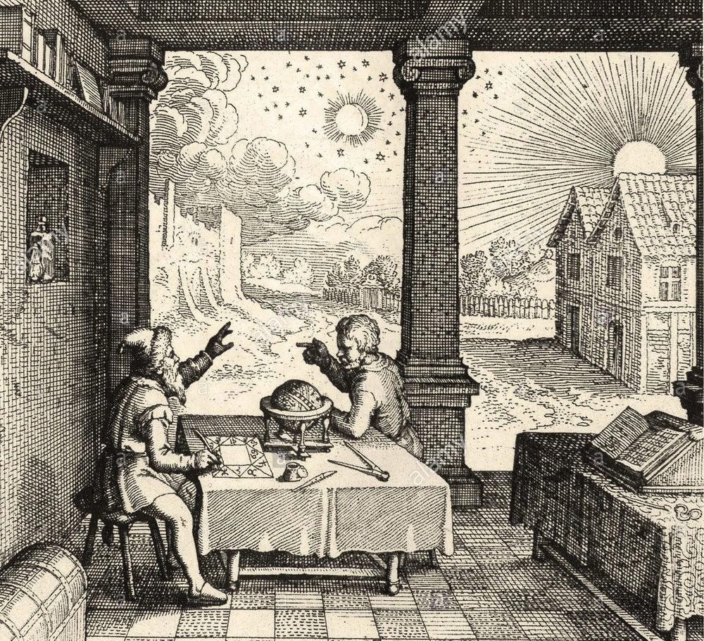astrology-preparing-a-horoscope-from-robert-fludds-ultriusque-cosmihistoria-BM4C3P.jpg