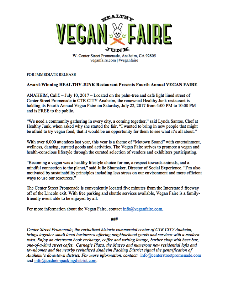 Media Kit 2017 — Healthy Junk Vegan Faire