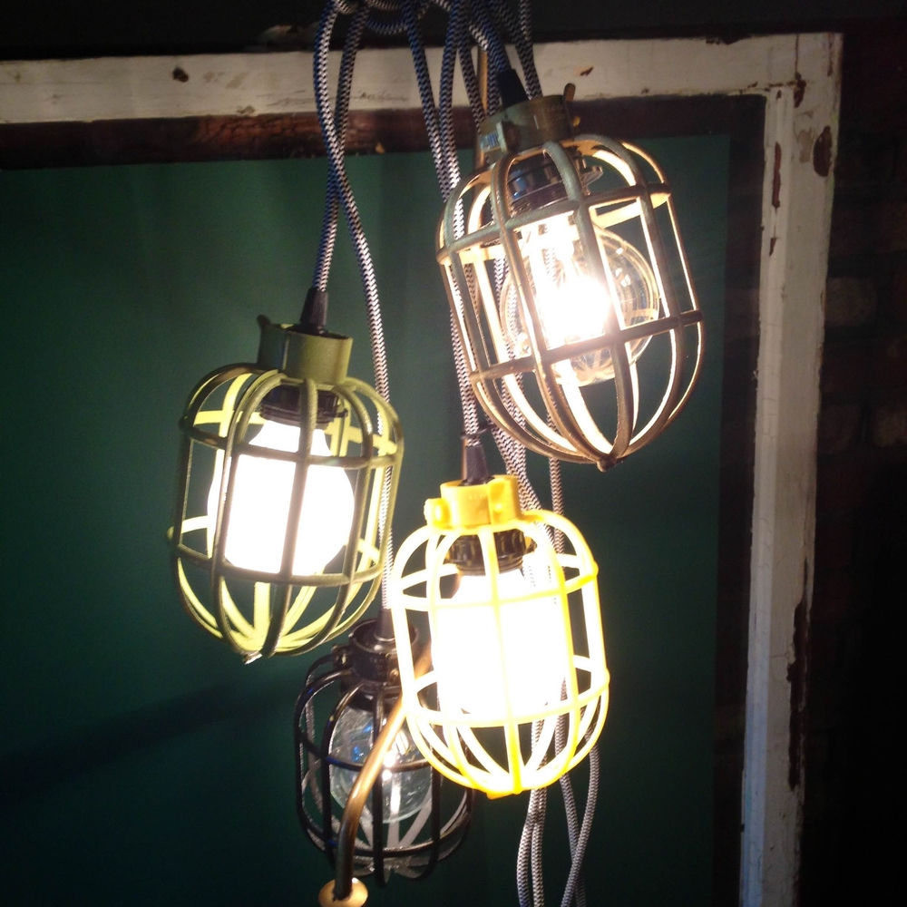 Cloth Cord Pendant Lamps with Cage Cover