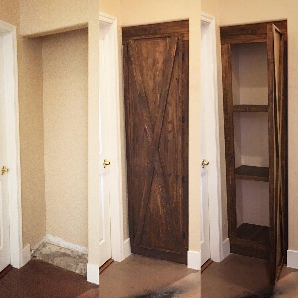 Hall Closet Custom Shelving and Barndoor