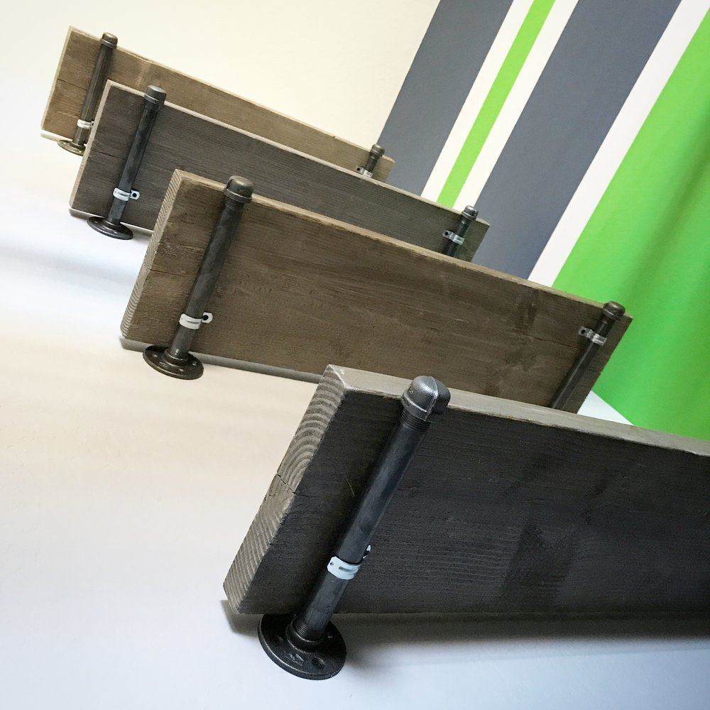 Pipe brackets with wood shelves
