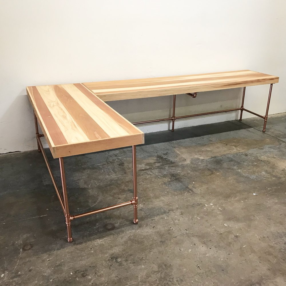 Russell Redwood L-Shaped Corner Desk with Copper Base