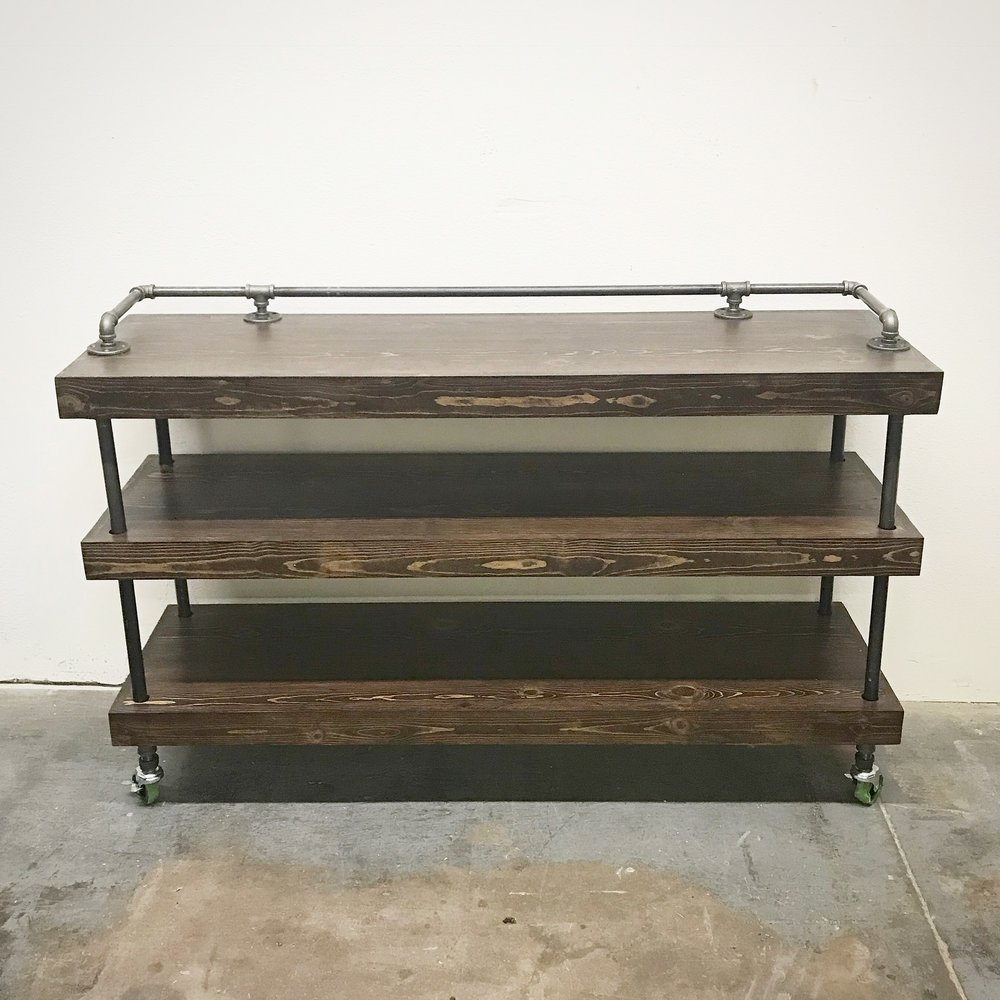 Wayne Buffet Cart with Drink Rail and Shelves