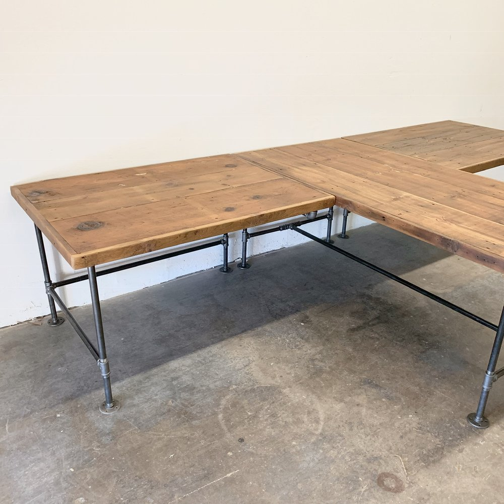 Albert T-shaped Desk XL Reclaimed Wood Desk