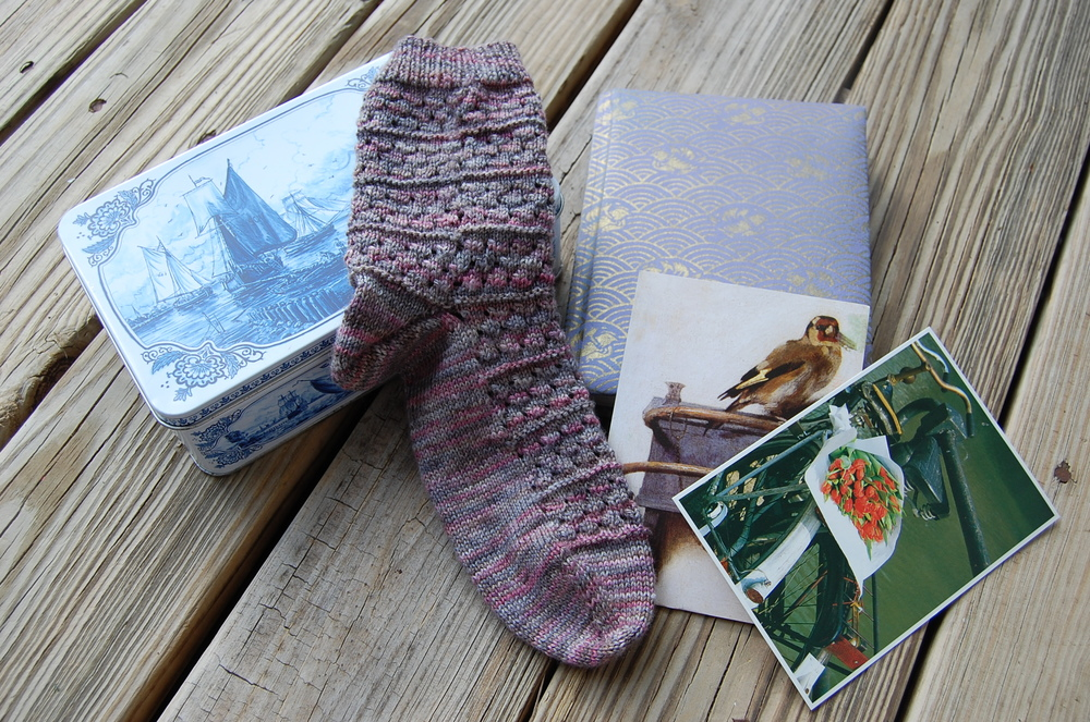 My Bickerstraat sock along with treasures from my time abroad.