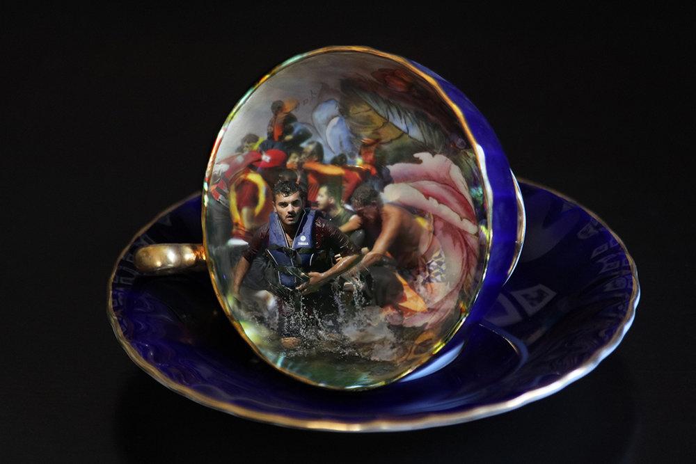 CHERYL PAGUREK | BLUE TEA CUP / LESBOS |DIGITAL PRINT ON PHOTO PAPER | 17 X 25.5 INCHES | 2016
