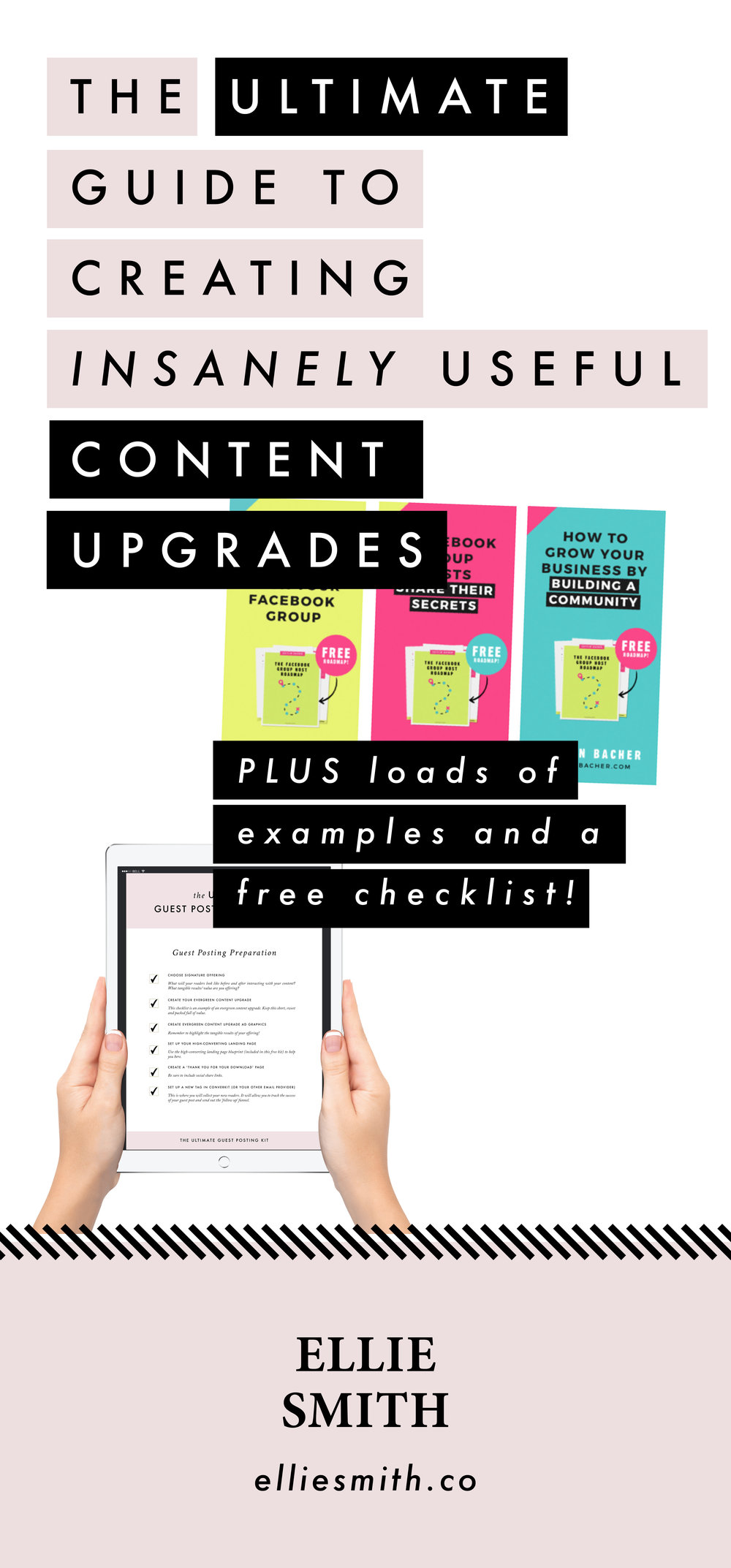 Want to grow your email list & provide amazing free value to your readers? Look no further than the content upgrade. I spill the beans on all the strategies for increasing your conversions AND saving you time! - The Ultimate Guide To Creating Insanely Useful Content Upgrades, elliesmith.co